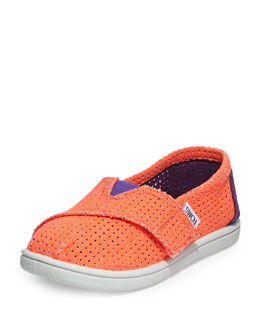 TOMS Freetown Two-Tone Mesh Slip-On, Orange, Tiny
