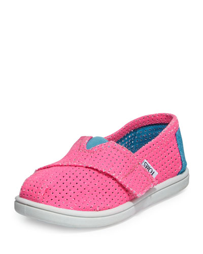 TOMS Freetown Two-Tone Mesh Slip-On, Pink, Tiny