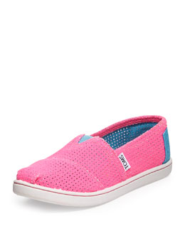 TOMS Freetown Two-Tone Mesh Slip-On, Pink, Youth