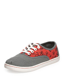 TOMS Cordones Bike-Print Slip-On, Gray/Red, Youth
