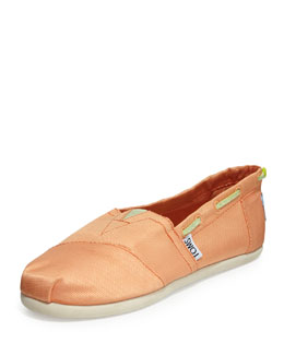 TOMS Grosgrain Bimini Boat Shoe, Peach, Youth