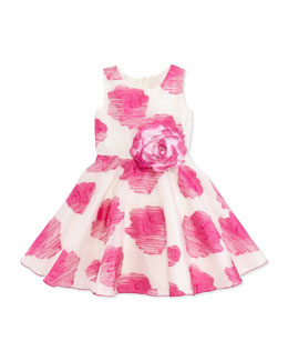 Zoe Rose-Print Organza Dress, Pink, Sizes 2-6