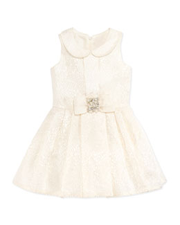 Zoe Brocade Party Dress, Ivory, Sizes 8-10