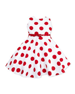 Susanne Lively Polka-Dot Party Dress with Belt, White/Red, Girls' 4-6X