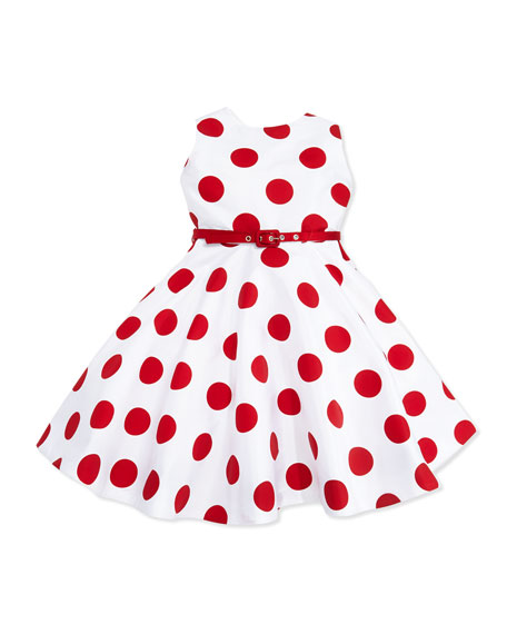 Polka-Dot Party Dress with Belt, White/Red, Girls' 4-6X
