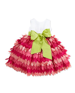 Susanne Lively Taffeta & Leaf Skirt Dress, Fuchsia, Girls' 4-6X