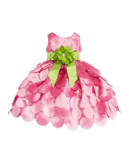 Susanne Lively Taffeta Petal Skirt Dress, Pink/Green, Girls' 4-6X