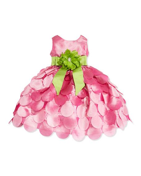 Taffeta Petal Skirt Dress, Pink/Green, Girls' 4-6X
