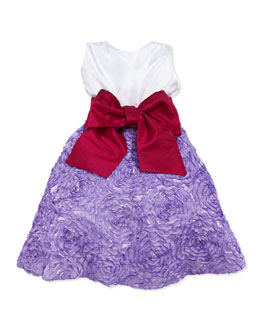 Susanne Lively Colorblock Soutache-Skirt Dress, Lilac, Girls' 4-6X