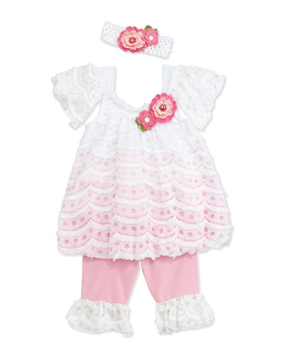 Mesh and Lace Swing Top & Leggings, Pink, 12-24 Months