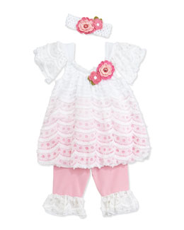 Cach Cach Mesh and Lace Swing Top & Leggings, Pink, 12-24 Months