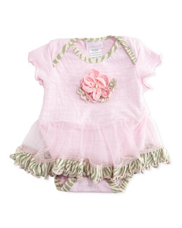 Cach Cach Skirted Slub-Knit Playsuit, 0-9 Months