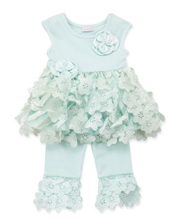 Cach Cach Tiered-Floral Swing Top & Leggings, Aqua, 12-24 Months