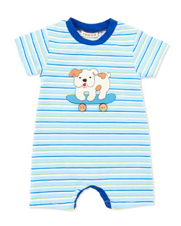 Cach Cach Striped Skateboarding Dog Romper, Blue, 0-9 Months