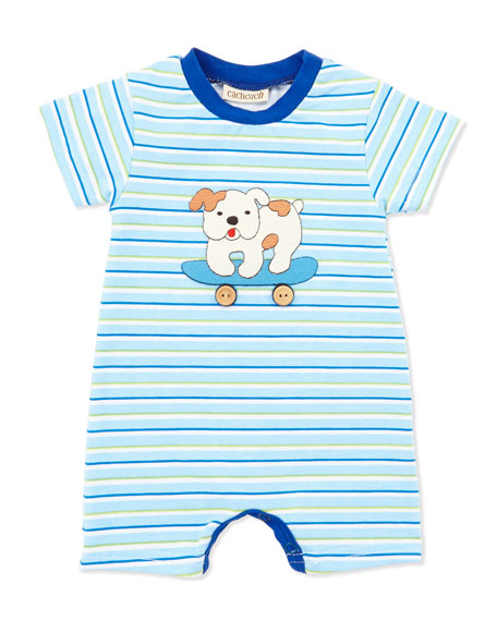 Striped Skateboarding Dog Romper, Blue, 0-9 Months