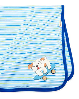 Cach Cach Striped Jersey Baby Blanket, Blue