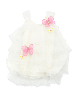 Cach Cach Butterfly Bubble Romper, Cream, 12-24 Months