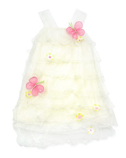 Cach Cach Butterfly Tiered Dress, Cream, 12-24 Months