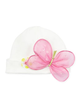Cach Cach Butterfly Fitted Cap, Cream