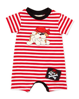 Cach Cach Pirate-Dog Striped Bodysuit, Red, 3-9 Months