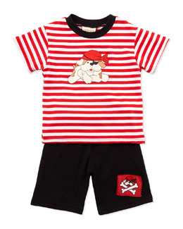 Cach Cach Pirate-Dog Stripe Tee & Shorts Set, Black, 3-9 Months