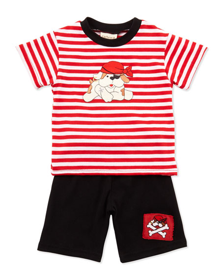 Pirate-Dog Stripe Tee & Shorts Set, Black, 3-9 Months