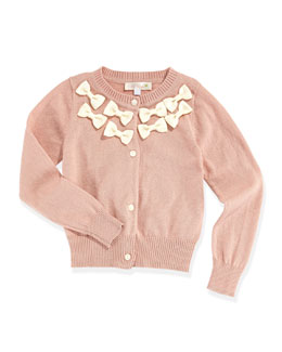 Baby Sara Bow-Trimmed Long-Sleeve Cardigan, Pink, Toddler Girls' 2T-3T