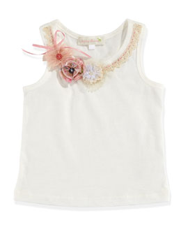 Baby Sara Tank Top with Flower Trim, White, Toddler Girls' 2T-3T