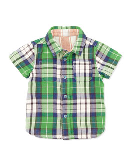 Bitz Kids Reversible Plaid/Striped Shirt, Green, 12-24 Months