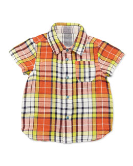 Bitz Kids Reversible Plaid/Striped Shirt, Orange, 12-24 Months