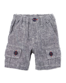 Bitz Kids Linen/Cotton Cargo Shorts, Navy, 12-24 Months