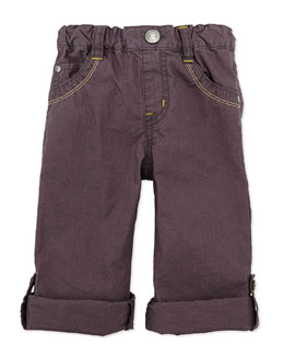 Bitz Kids Light-Cotton Roll-Up Pants, Charcoal, 12-24 Months