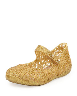 Melissa Shoes Mini Melissa + Campana Zig Zag IX Jelly Mary Jane, Gold