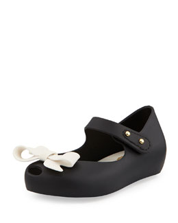 Melissa Shoes Mini Ultragirl Bow Jelly Flats, Black, Girls' Sizes 5-10