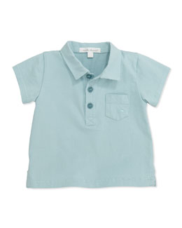 Marie Chantal Jersey Pocket Polo Shirt, Blue, 6-24 Months