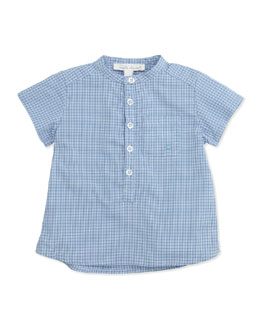 Marie Chantal Check Collarless Poplin Shirt, Blue, 6-24 Months