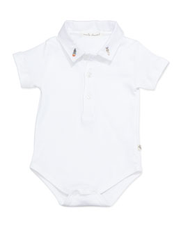 Marie Chantal Space-Embroidered Collared Playsuit, White, 6-18 Months