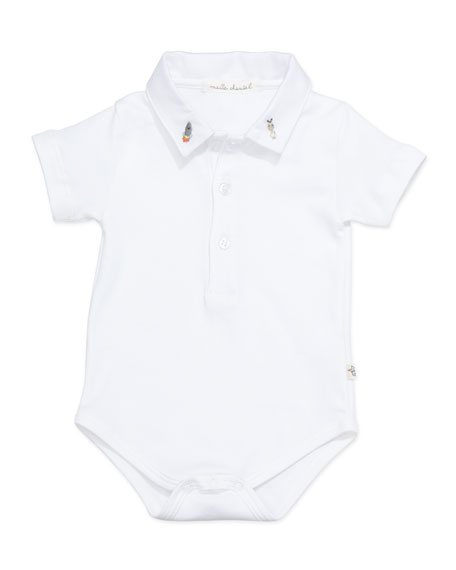 Space-Embroidered Collared Playsuit, White, 6-18 Months