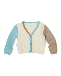 Marie Chantal Colorblock Knit V-Neck Cardigan, White, 6-24 Months