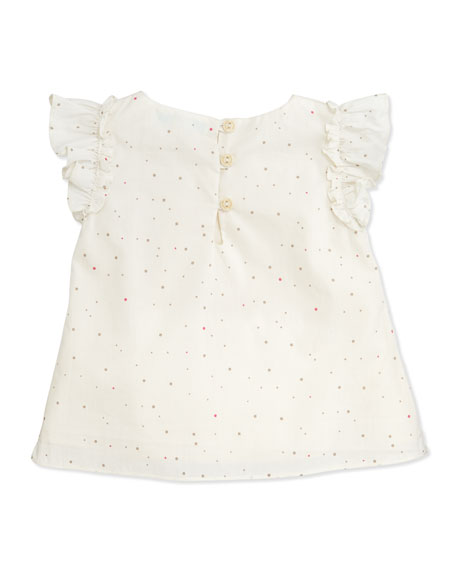 Dot-Sprint Flutter-Sleeve Top, 6-12 Months