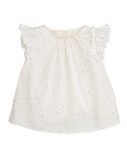 Marie Chantal Dot-Sprint Flutter-Sleeve Top, 6-12 Months