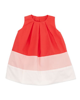 Marie Chantal Colorblock Pleated Dress, Pink, 6-24 Months