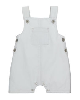 Marie Chantal Cotton Patch-Pocket Overalls, Light Gray, 6-18 Months