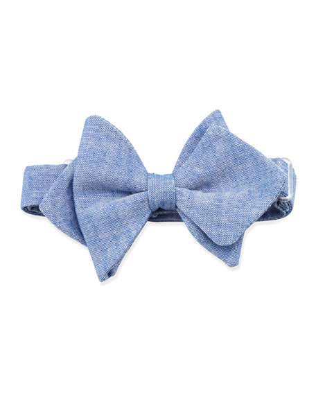 Chambray Baby Bow Tie, Blue