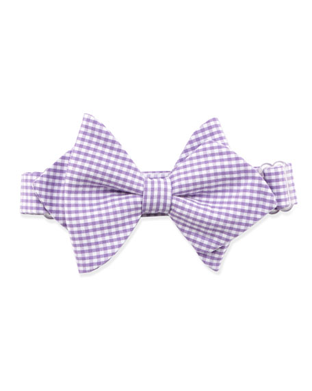 Gingham Baby Bow Tie, Purple