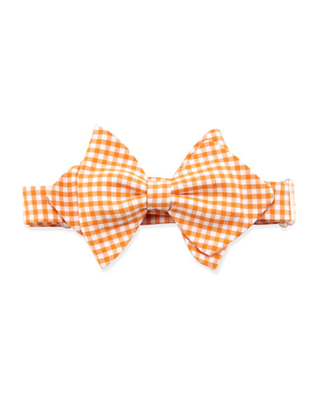 Gingham Baby Bow Tie, Orange