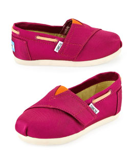 TOMS Grosgrain Bimini Boat Shoe, Pink/Orange, Tiny