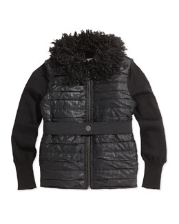 Lanvin Faux-Fur Collar Puffer Vest, Black, Sizes 8-12
