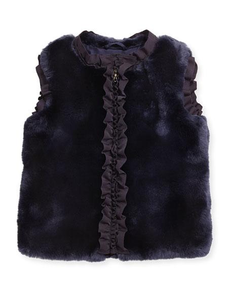 Lanvin Ruffled Faux-Fur Vest, Amethyst, Size 6