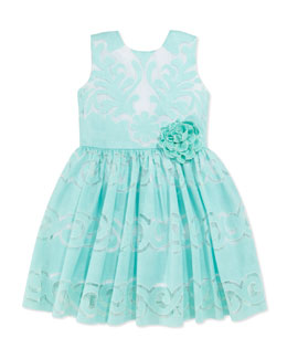 Halabaloo Sweet Lace Dress, Aqua, Girls' 4-6X